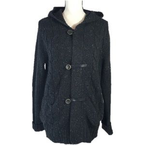 VINCE Cable Knit Hooded Cardigan/Jacket.